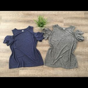 Old navy lot off the shoulder shirts blue gray